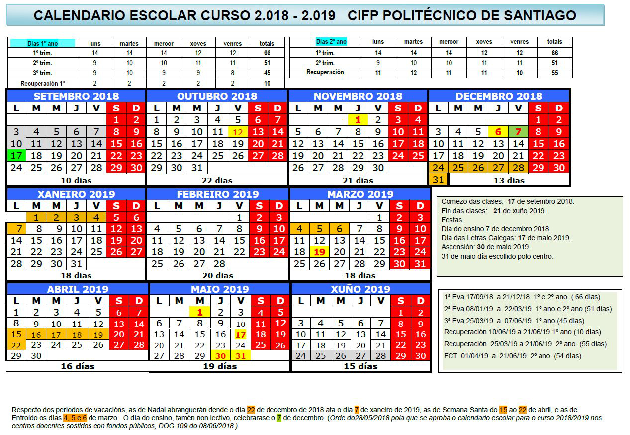 Calendario Ual.Calendario Escolar 2018 19 Politecnico De Santiago