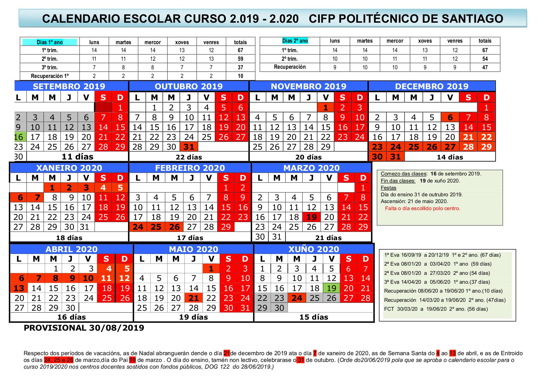 Calendario Politecnico.Calendario Escolar 2018 19 Politecnico De Santiago